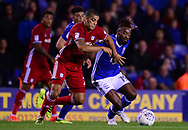 Lee peltier of Cardiff City in action with Jacques Maghoma of Birmingham city (r) .EFL Skybet championship match, Birmingham city v Cardiff city at St.Andrew's stadium in Birmingham, the Midlands on Friday 13th October 2017.<br /> pic by Bradley Collyer, Andrew Orchard sports photography.