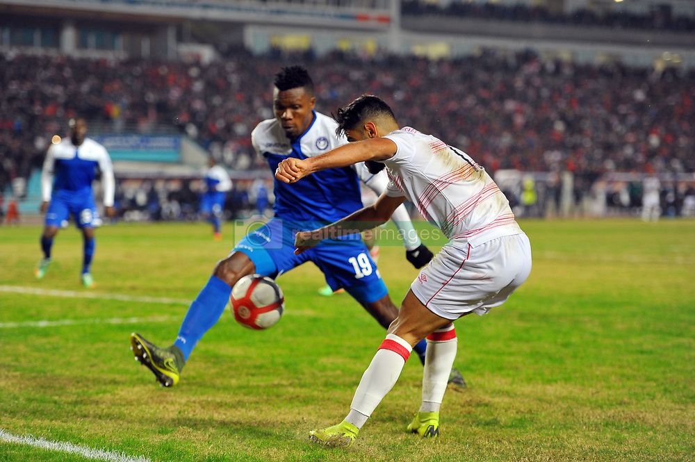 December 16, 2018 - Rades, Tunisia - Yassine Chammakhi (R)of CA and Emmanuel Chukwu  Ariwa (19)during the match 1 / 16th finals of the African Champions League between Club Africain(CA) de Tunis and El Hilal of Sudan at the Olympic Stadium Rades .CA-El HILAL 3/1. (Credit Image: © Chokri Mahjoub/ZUMA Wire)