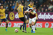 Jens Hegeler of Bristol city and Sam Vokes of Burnley challenge for the ball. The Emirates FA cup 4th round match, Burnley v Bristol City at Turf Moor in Burnley, Lancs on Saturday 28th January 2017.<br /> pic by Chris Stading, Andrew Orchard Sports Photography.