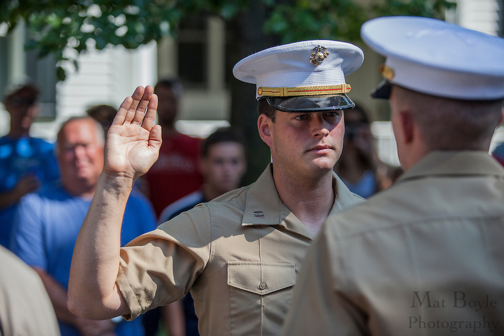 Pitman native Teddy Ritter gets promoted to Marine Captain by Marine Captain Dave Bates in front family and friends at the Ritter family home in Pitman, NJ on Wednesday July 4, 2012. Photo - Mat Boyle / Gloucester County Times