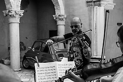 Alessano (LE) 15.09.2019 Festival Muse Salentine. The concept of Yehudi Menuhin Foundation's residence at Muse Salentine Festival, is to revisit some of the repertoire dear to Yehudi Menuhin by including elements of traditional music and bringing together classical artists and musicians from an Italian folk tradition background. The programme embraces composers Yehudi Menuhin particularly appreciated, such as Johann Sebastian Bach, Turina, Piazzolla, Villa-Lobos, Grappelli and Reinhardt as well as works from the European traditional repertoire. Invited musicians include soloists from the Brussels Chamber Orchestra, musicians proposed by MUS-E Italia and a special guest of honour: the Italian violinist Alessandro Quarta.