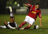 Photo: Rich Eaton.<br /> <br /> Crewe Alexander v Manchester United. Carling Cup. 25/10/2006. Kieron Richardson of Man UNited fouls Jon Otsemobor of Crewe and receives a yellow card