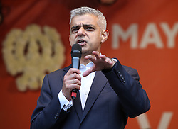 Sadiq Khan during the Mayor of London Vaisakhi celebrations in Trafalgar Square, London, to mark the Sikh New Year.