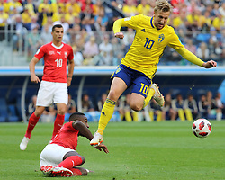 July 3, 2018 - Russia - July 03, 2018, St. Petersburg, FIFA World Cup 2018 Football, the playoff round. Football match of Sweden - Switzerland at the stadium of St. Petersburg. Player of the national team Emile Forsberg. (Credit Image: © Russian Look via ZUMA Wire)