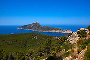 View of Dragonera from Reserva Biológica de la Trapa, Sant Elm, Mallorca, Balearic Islands, Spain