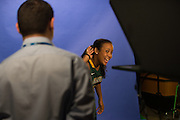 April 2, 2016; Indianapolis, Ind.; Kiki Robertson motions for more noise during their green screen session at the NCAA Headquarters.