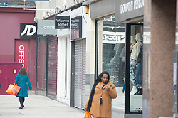 © Licensed to London News Pictures. 05/11/2020.  <br /> Bromley, UK. Shutters down on non essential shops. A near empty Bromley High Street in South East London today on the first day of a four week lockdown across England. Photo credit:Grant Falvey/LNP