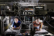 SAN DIEGO,CA:  Christian Steel ,R, and Bill Jasper stand in a lab at Peregrine Semiconductor in San Diego, CA.  For Peregrine