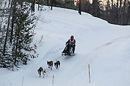 Photo Randy Vanderveen.Grande Prairie , Alberta.13-01-05.Dave Johnson urges his dog team through the race course as he takes part in the Four Dog -4 Mile event. The Grande Prairie Sled Dog Derby ran two days of races at Evergreen Park this past weekend, Jan. 5 and 6.