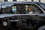 On US President Donald Trump's first day of a controversial three-day state visit to the UK by the 45th American President, Melania Trump sits in his Presidential cavalcade, making her way en-route from Westminster Abbey, on 3rd June 2019, in London England.
