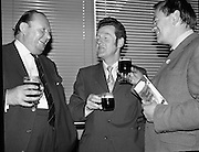 Kilkenny Beer Festival Launch..1972..11.09.1972..09.11.1972..11th September 1972..At the Guinness reception in Dublin plans were announced for this years Kilkenny Beer Festival..Pictured at the announcement were, Mr R B Howick,Sales Director,Guinness Group Sales,Mr Sean McManus,Festival Chairman and Mr owen Lysaght, Southern Regional Manager,Guinness Group Sales.