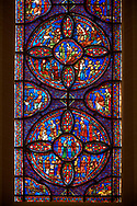 Medieval stained glass Window of the Gothic Cathedral of Chartres, France - dedicated to the life of St Anthony of the Desert.  A UNESCO World Heritage Site .<br /> <br /> Visit our MEDIEVAL ART PHOTO COLLECTIONS for more   photos  to download or buy as prints https://funkystock.photoshelter.com/gallery-collection/Medieval-Middle-Ages-Art-Artefacts-Antiquities-Pictures-Images-of/C0000YpKXiAHnG2k
