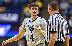 Mar 6, 2019; Morgantown, WV, USA; West Virginia Mountaineers guard Chase Harler (14) talks with a referee during the first half against the Iowa State Cyclones at WVU Coliseum. Mandatory Credit: Ben Queen-USA TODAY Sports