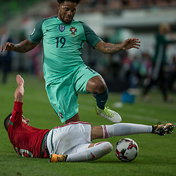 September 3, 2017 - Budapest, Hungary - Attila Fiola (L) of Hungary in action with Eliseu (R) of Portugal during the World Cup qualification match between Hungary and Portugal at Groupama Arena on Nov 03, 2017 in Budapest, Hungary. (Credit Image: © Robert Szaniszlo/NurPhoto via ZUMA Press)