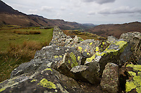 Lake District, Cumbria, UK, The Eskdale Valley from Hardknott Roman Fort
