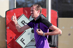 Stoke City's Peter Crouch arrives at Rotherham United's Asseal New York stadium
