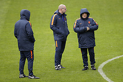 (L-R) assistant trainer Ruud Gullit of Holland, assistant trainer Fred Grim of Holland, coach Dick Advocaat of Holland during a training session prior to the FIFA World Cup 2018 qualifying match between Belarus and Netherlands on October 06, 2017 at Borisov Arena in Borisov,  Belarus