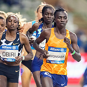 BRUSSELS, BELGIUM:  September 3:   Hellen Obiri of Kenya and Francine Niyonsaba of Burundi in action in the 5000m race for women during the Wanda Diamond League 2021 Memorial Van Damme Athletics competition at King Baudouin Stadium on September 3, 2021 in  Brussels, Belgium. (Photo by Tim Clayton/Corbis via Getty Images)