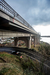 Pics of the closed Forth Road Bridge from the north, Fife side at North Queensferry. Pic of the underside of the north bound road side.