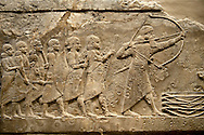 Assyrian relief sculpture panel of Ashurnasirpal lion hunting.  From Nineveh  North Palace, Iraq,  668-627 B.C.  British Museum Assyrian  Archaeological exhibit .<br /> <br /> If you prefer to buy from our ALAMY PHOTO LIBRARY  Collection visit : https://www.alamy.com/portfolio/paul-williams-funkystock/ancient-assyria-antiquities.html  Refine search by adding background colour, place, subject, museum etc into the LOWER SEARCH WITHIN GALLERY box to <br /> <br /> Visit our ANCIENT ASSYRIAN PHOTO COLLECTIONS for more photos to download or buy as wall art prints https://funkystock.photoshelter.com/gallery-collection/Ancient-Assyrian-Art-Artefacts-Antiquities-Historic-Sites-Pictures-Images-of/C0000cjRqQyJjLag