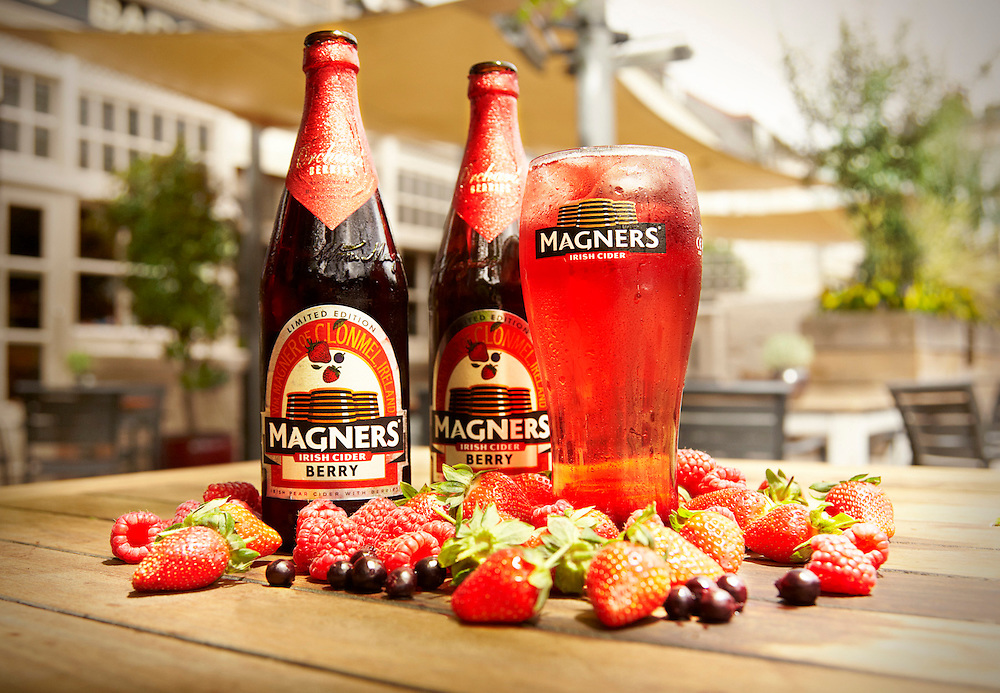 Magners bottles and glass on a table surrounded by berries Ray Massey is an established, award winning, UK professional  photographer, shooting creative advertising and editorial images from his stunning studio in a converted church in Camden Town, London NW1. Ray Massey specialises in drinks and liquids, still life and hands, product, gymnastics, special effects (sfx) and location photography. He is particularly known for dynamic high speed action shots of pours, bubbles, splashes and explosions in beers, champagnes, sodas, cocktails and beverages of all descriptions, as well as perfumes, paint, ink, water – even ice! Ray Massey works throughout the world with advertising agencies, designers, design groups, PR companies and directly with clients. He regularly manages the entire creative process, including post-production composition, manipulation and retouching, working with his team of retouchers to produce final images ready for publication.