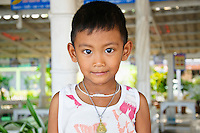 Thai child smiling, Ban Phe, Thailand