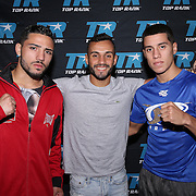Julian Rodriguez, Christopher Diaz and Jean Carlos Rivera during weigh ins for the Top Rank boxing event at Osceola Heritage Park in Kissimmee, Florida on September 21, 2016.