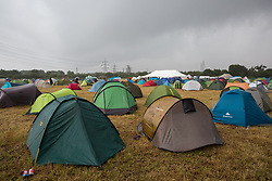 Roydon, Essex, UK. 27 July, 2019. Tents pitched at Reclaim The Power's Power Beyond Borders mass action camp.