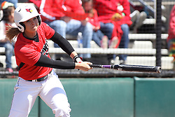 26 April 2015:   At bat is Regan Romshek during an NCAA Missouri Valley Conference (MVC) Championship series women's softball game between the Loyola Ramblers and the Illinois State Redbirds on Marian Kneer Field in Normal IL