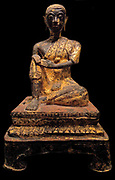 Buddhist Monk, Thailand, Era of Ratanakosin. XIX century, Bronze with laquer