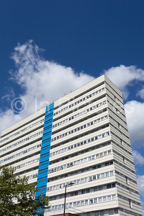 An exterior street view of Castlemead, a high-rise block of flats on the Camberwell Road, on 7th September 2018, in south London, Southwark, UK.