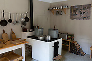 Interior of the Kitchen at the WW2-era Franja Partisan Hospital, on 20th June 2018, near Dolenji Novaki, Slovenia. From December 1943 until the end of the war as part of a broadly organized resistance movement against the Fascist and Nazi occupying forces, the hospital was set in a deep gorge in rural Slovenia where fighters were brought in from many areas to be treated in this secret location. 578 were treated here but the mortality rate were only 10% and the site was never discovered by German forces. Franja is in the UNESCO Tentative List of World Heritage sites.