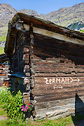Traditional chalet in village of Zmutt in the Swiss Alps near Zermatt, Switzerland