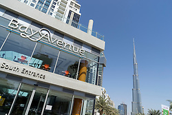 New Bay Avenue residential property development and Burj Khalifa in Business Bay district of Dubai United Arab Emirates