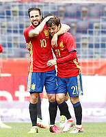 Spain's Cesc Fabregas (l) and David Jimenez Silva celebrate goal during friendly match. June 1,2016.(ALTERPHOTOS/Acero)