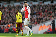 Olivier Giroud of Arsenal looking on.The Emirates FA cup, 4th round match, Arsenal v Burnley at the Emirates Stadium in London on Saturday 30th January 2016.<br /> pic by John Patrick Fletcher, Andrew Orchard sports photography.
