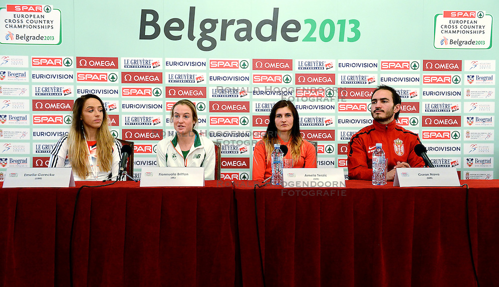 07-12-2013 ATHLETICS: SPAR EC CROSS COUNTRY: BELGRADE<br /> Press conference regarding the SPAR European Cross Country Championships held in the city of Belgrade Ceremonial Assembly Hall /  (L-R) Emelia Gorecka GBR, Fionnuala Britton IRE, Amela Terzic SRB and  Goran Nava SRB<br /> ©2013-WWW.FOTOHOOGENDOORN.NL