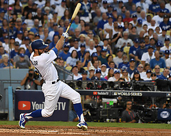 October 24, 2017 - Los Angeles, California, U.S. - Los Angeles Dodgers' Chris Taylor leads off the game with a solo home run against the Houston Astros in the first inning of game one of a World Series baseball game at Dodger Stadium on Tuesday, Oct. 24, 2017 in Los Angeles. (Photo by Keith Birmingham, Pasadena Star-News/SCNG) (Credit Image: © San Gabriel Valley Tribune via ZUMA Wire)