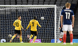 Belgiums's Romelu Lukaku scores his side's first goal of the game during the International Friendly at Hampden Park, Glasgow.