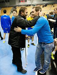 Dejan Peric and Luka Zvizej celebrate after the handball match between RK Celje Pivovarna Lasko (SLO) and THW Kiel (GER) in 5th Round of Group B of EHF Champions League 2012/13 on November 17, 2012 in Arena Zlatorog, Celje, Slovenia. Celje Pivovarna Lasko defeated Kiel 31-28. (Photo By Vid Ponikvar / Sportida)