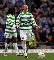 Photo: Paul Thomas.<br /> Glasgow Celtic v Glasgow Rangers. Bank of Scotland Scottish Premier League. 11/03/2007.<br /> <br /> Kenny Miller of Celtic shows his frustration after Rangers score.