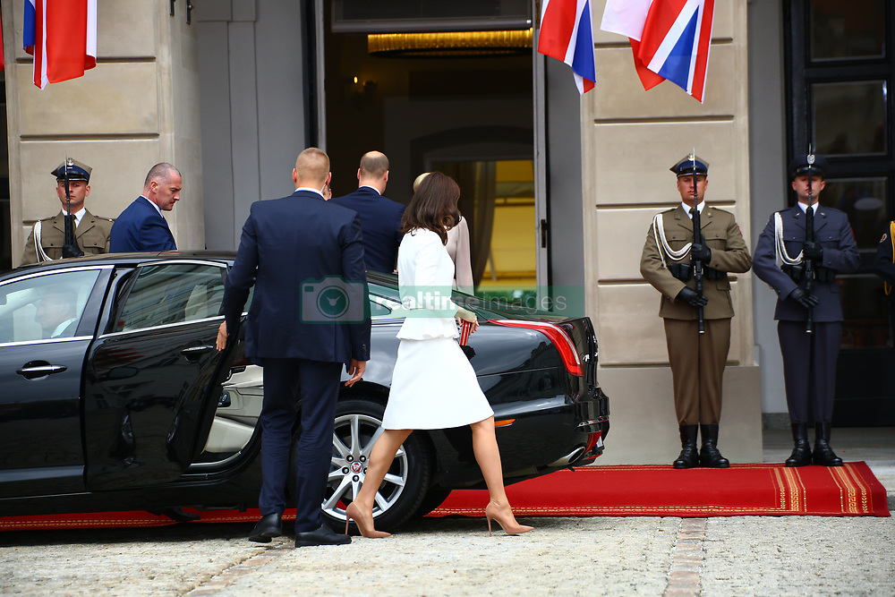 July 17, 2017 - Berlin, Germany - President Andrzej Duda and First Lady Agata Kornhauser-Duda received Prince William Duke of Cambridge and Catherine Duchess of Cambridge for the beginning of their journey to Poland and at Presidential Palace in Warsaw. They were welcomed by crowds during their walk to visit the memorial of Adam Mickiewicz..Chancellor Angela Merkel received Prince William Duke of Cambridge and Catherine Duchess of Cambridge at Germany Chancellery. (Credit Image: © Jakob Ratz/Pacific Press via ZUMA Wire)