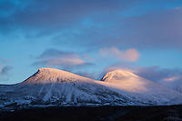 Snow covered mountain peaks in Autumn, Kunglseden trail, Lappland, Sweden