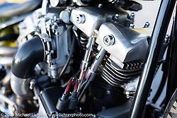 Christian Newman's 1978 Harley-Davidson split-rocker turbo Shovelhead custom from Buffalo, New York after the Handbuilt Show. Austin, Austin USA. Sunday, April 14, 2019. Photography ©2019 Michael Lichter.