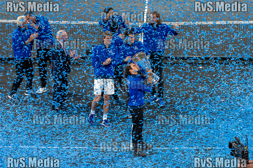 GENEVA, SWITZERLAND - SEPTEMBER 22: Roger Federer of Team Europe celebrates with the trophy during Day 3 of the Laver Cup 2019 at Palexpo on September 20, 2019 in Geneva, Switzerland. The Laver Cup will see six players from the rest of the World competing against their counterparts from Europe. Team World is captained by John McEnroe and Team Europe is captained by Bjorn Borg. The tournament runs from September 20-22. (Photo by Monika Majer/RvS.Media)