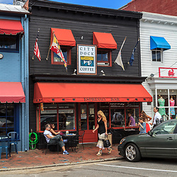 Annapolis, MD, USA - May 20, 2012: The historic business area in Annapolis Maryland offers outside dining at many restaurants.