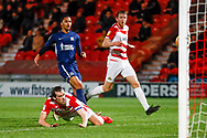 Doncaster Rovers forward John Marquis (9) with a diving header well saved during the EFL Sky Bet League 1 match between Doncaster Rovers and Southend United at the Keepmoat Stadium, Doncaster, England on 12 February 2019.