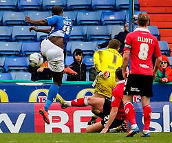 Bristol City's Frank Fielding saves a close range shot from Oldham Athletic's Jonathan Forte  - Photo mandatory by-line: Matt McNulty/JMP - Mobile: 07966 386802 - 03/04/2015 - SPORT - Football - Oldham - Boundary Park - Oldham Athletic v Bristol City - Sky Bet League One