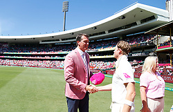 Australia's Steve Smith shakes hands with Glenn Mcgrath in support of the Mcgrath Foundation during day two of the Ashes Test match at Sydney Cricket Ground.