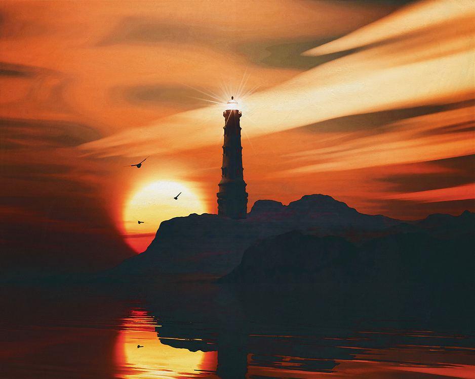 A lighthouse is meant to be a beacon for navigation. You can find a lighthouse along the coast anywhere in the world. In modern times, a lighthouse did lose some of its function due to more advanced technology; However, a lighthouse still retains its romantic function for many.<br /> This painting easily brings the atmosphere of the sea to your home. This coastal scene can be printed in different sizes and on different materials. Both on canvas, wood, metal or framed so it certainly fits into your interior. –<br /> -<br /> BUY THIS PRINT AT<br /> <br /> FINE ART AMERICA / PIXELS<br /> ENGLISH<br /> https://janke.pixels.com/featured/lighthouse-with-a-sunset-jan-keteleer.html<br /> <br /> <br /> WADM / OH MY PRINTS<br /> DUTCH / FRENCH / GERMAN<br /> https://www.werkaandemuur.nl/nl/shopwerk/Vuurtoren-met-zonsondergang-en-wolken/782468/132?mediumId=15&size=70x55<br /> –<br /> -
